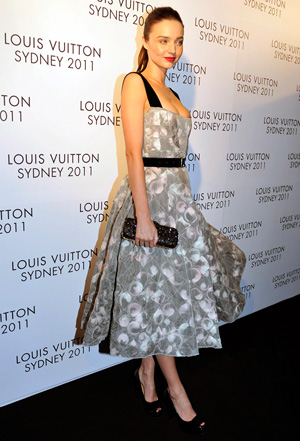 Miranda Kerr wearing fifties style dress