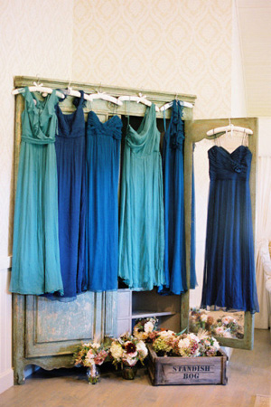 Monochromatic bridesmaids dresses