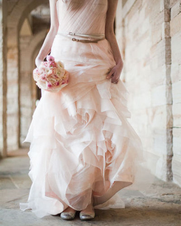 Pale peach wedding dress