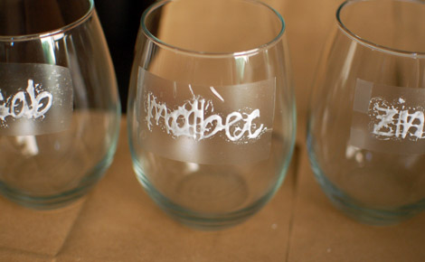 Apply etching cream to wine glasses