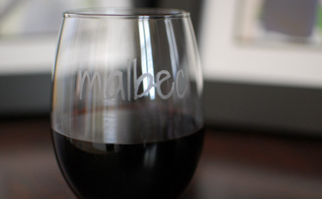 Malbec glass with wine