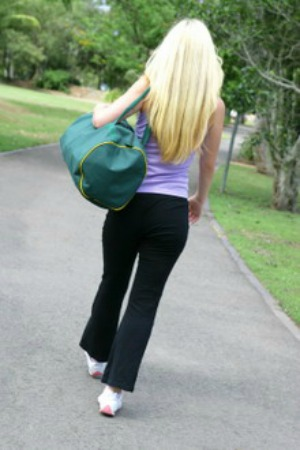 Woman carrying her gym bag