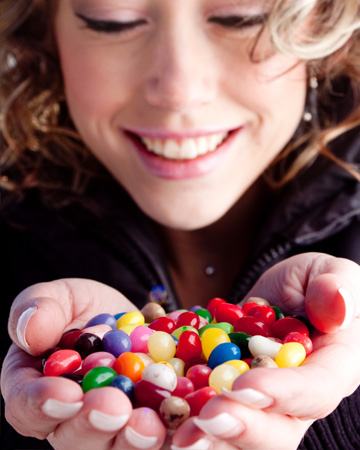 Woman holding jelly beans