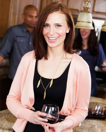 Woman hosting party