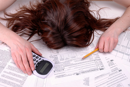 Woman passed out on tax forms