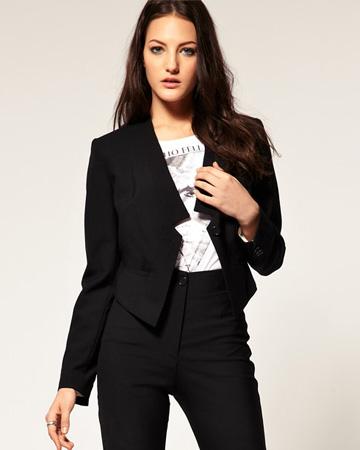 Woman wearing tuxedo jacket to work