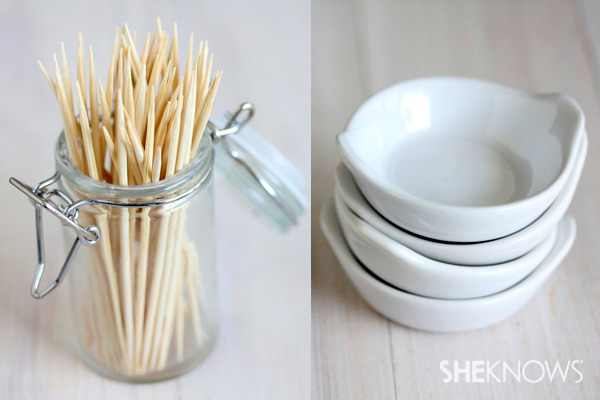 Step six: Gather toothpicks and dishes