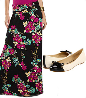 Floral maxi paired with cap-toed flats