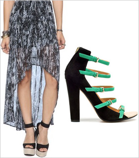 High-low dmaxi paired with strappy buckled sandals