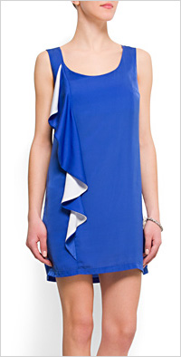 royal blue scoop neck shift dress