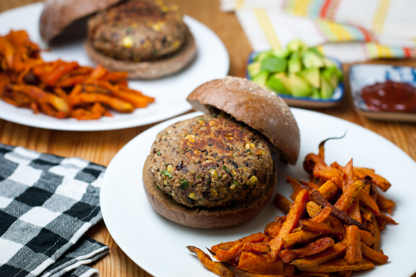 Black bean burgers with sweet potato fries recipe