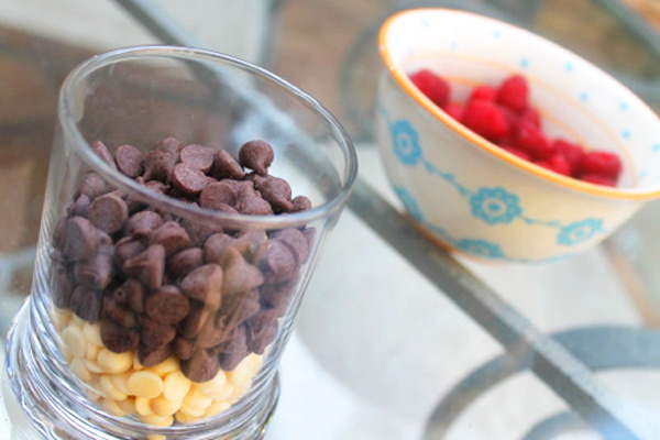 Chocolate chips and raspberries