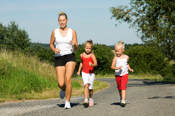 Mom and daughters staying active