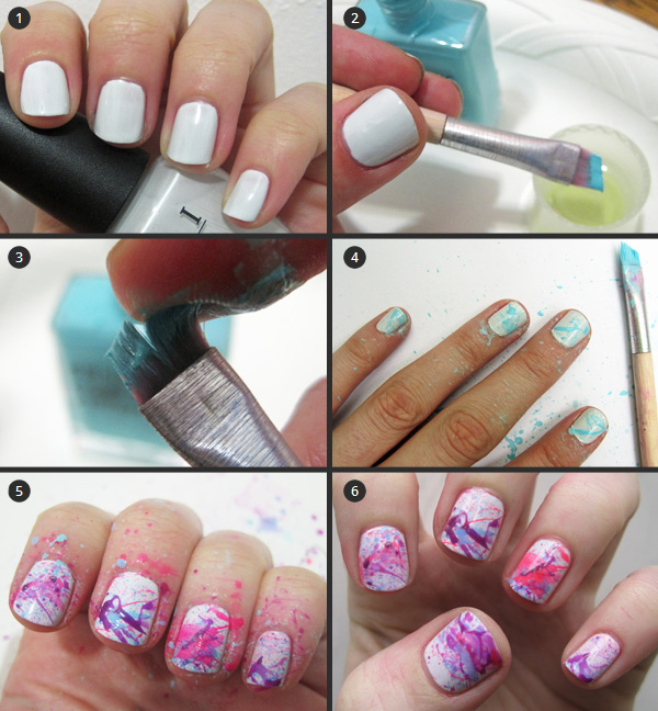 Color Splatter Nails Nail Art Tutorial Splatter