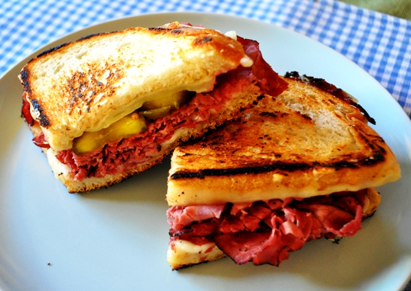 Pickles & pastrami make a perfect grilled cheese