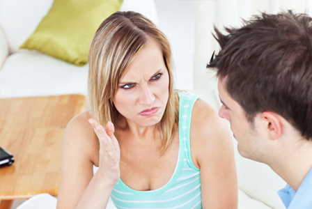 Woman annoyed at boyfriend