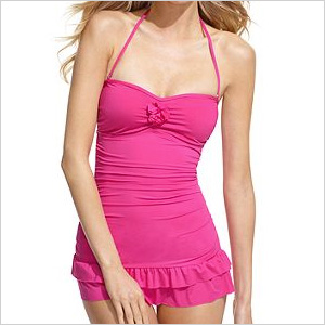 Pictured: Kenneth Cole Reaction Swimsuit, Bandeau Ruffle Tummy Control Swim dress in Pinkberry, $100 at Macys