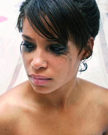Bride with racoon eyes