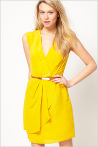 extra-bold V-neck wrap-style dress