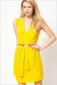 extra-bold V-neck wrap-style dress