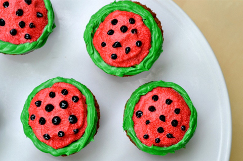 Watermelon decorated cupcakes recipe