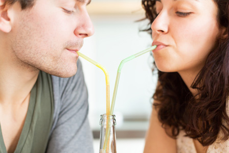 Couple drinking homemade soda