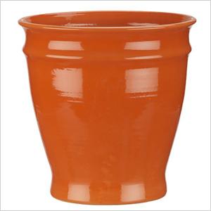 bright orange hand-thrown terra cotta planter