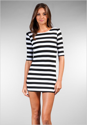 Shoulder Pad Stripe Mini Dress