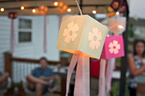 Summer outdoor party with paper lanterns