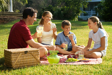 Family having picnic at home