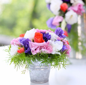 Centerpiece at outdoor wedding