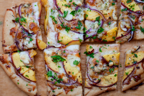 Fresh nectarine and gorgonzola pizza recipe
