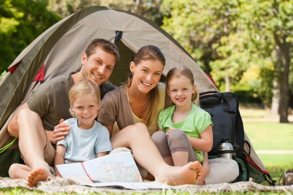 happy family out camping