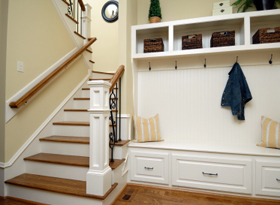 Mudroom or entryway organization