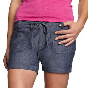 Tie-waist chambray jean shorts