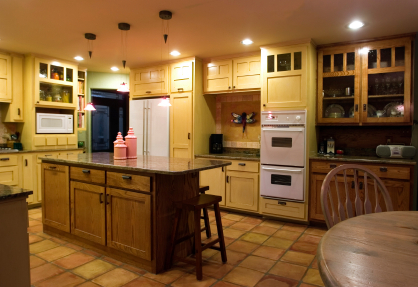 kitchen with mixed element cabinets