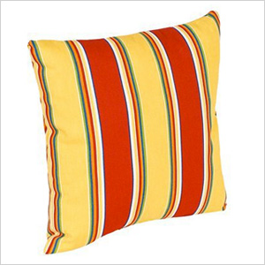 red and yellow striped outdoor pillows