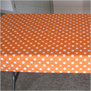orange polka dot tablecloth
