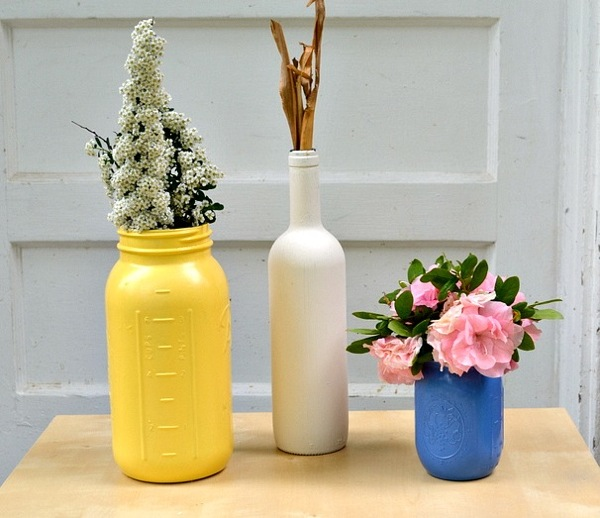 diy painted mason jars wine bottles final DIY: How To Turn Mason Jars & Wine Bottles Into Beautiful Home Decor