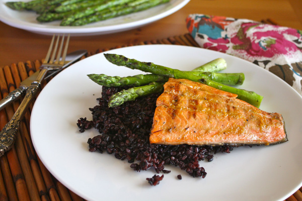 Meatless Monday: Grilled salmon with orange-miso glaze and black ...