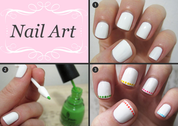 Nail art tutorial: neon polka dot french manicure