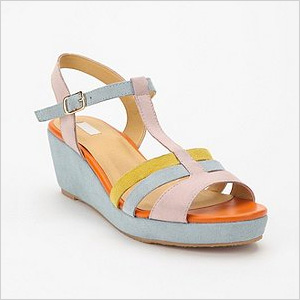 strappy pastel T-strap wedge sandals