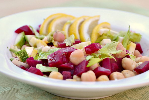 Chick pea & beet summer salad
