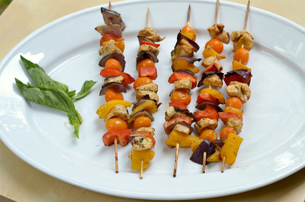 Spicy mustard marinaded chicken kabobs
