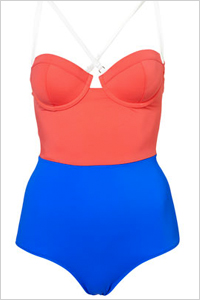 vintage-inspired, color block one piece