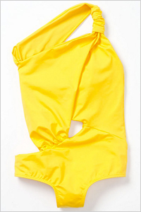 sunny yellow one-shoulder one piece 