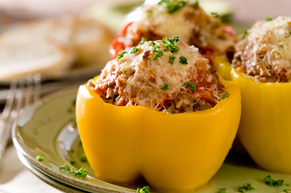 Bell peppers stuffed with couscous and ground beef