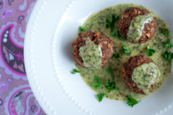 Vegetarian meatballs with pesto cream sauce recipe