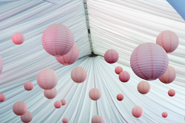 Wedding tent with lanterns
