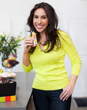 Woman eating energy bar